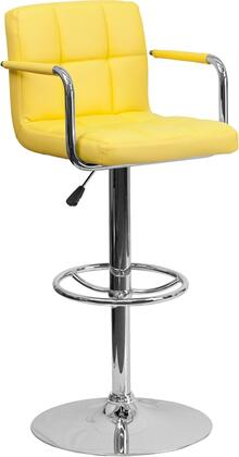 CH102029 Collection CH-102029-YEL-GG Barstool with Adjustable Height  Swivel Seat  Footrest Support  Contemporary Style  Chrome Pedestal Base and