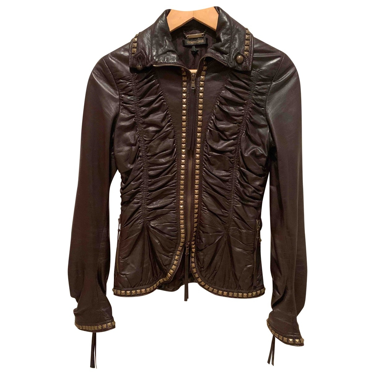 Roberto Cavalli \N Brown Leather jacket for Women 40 IT