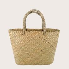 Stroh gewebte Einkaufstasche