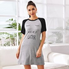 Contrast Raglan Sleeve Slogan Graphic Lounge Dress