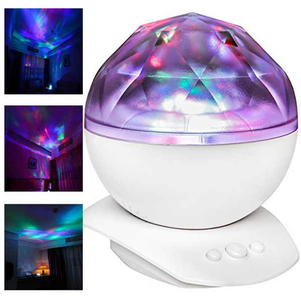DecBest 8 Modes Diamond Aurora Projector USB Powered Music Player LED Night Light Bedside Lamp