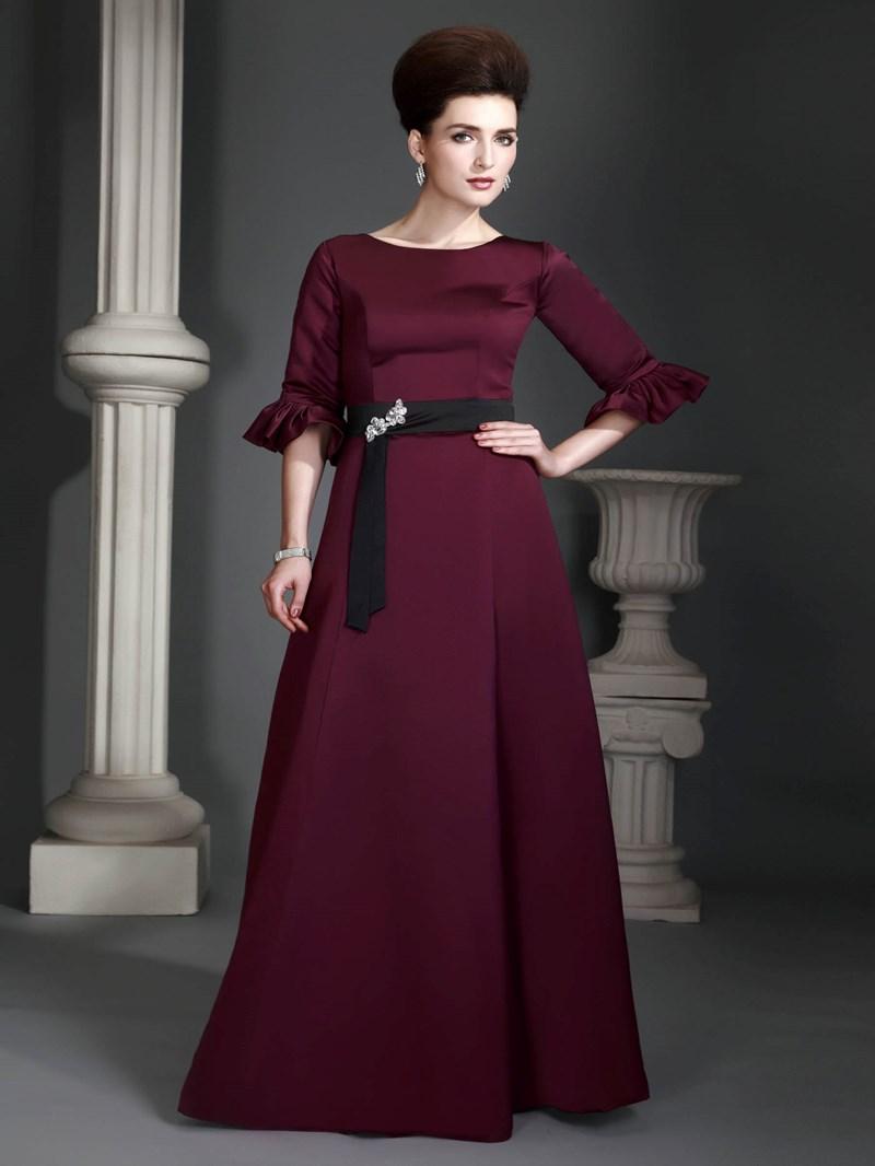 A-Line Jewel Neckline Half-Sleeves Floor-Length Alexs Mother of the Bride Dress