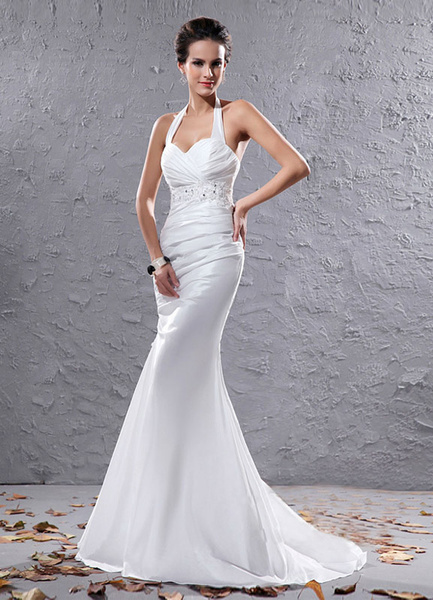 Milanoo Sexy White Organza Halter Beading Mermaid Bridal Wedding Dress