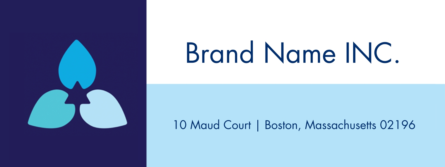 Arts & Media Business Address Labels, Set of 36, Business Printing -Three Blue Petals