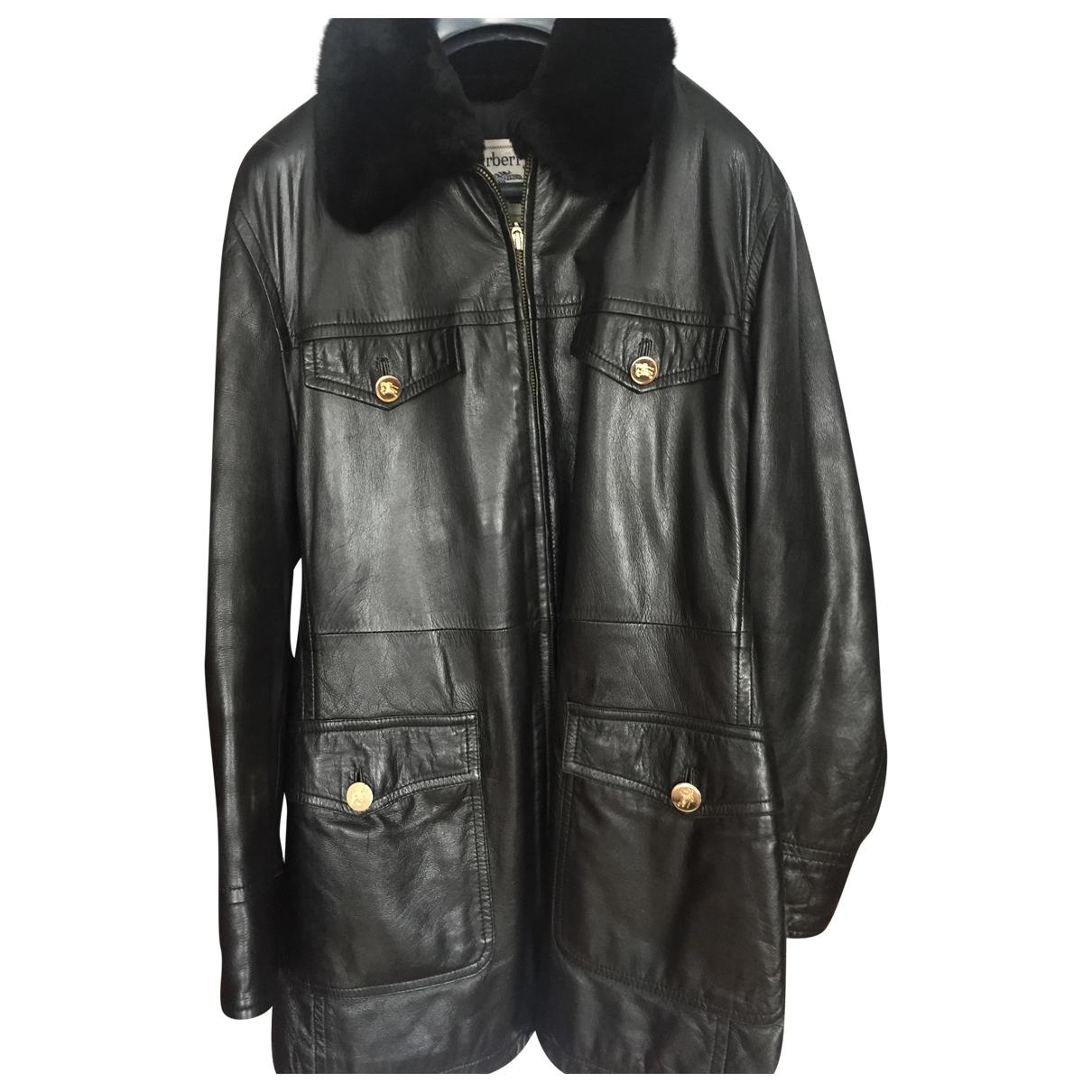 Burberry \N Black Leather coat for Women 40 FR