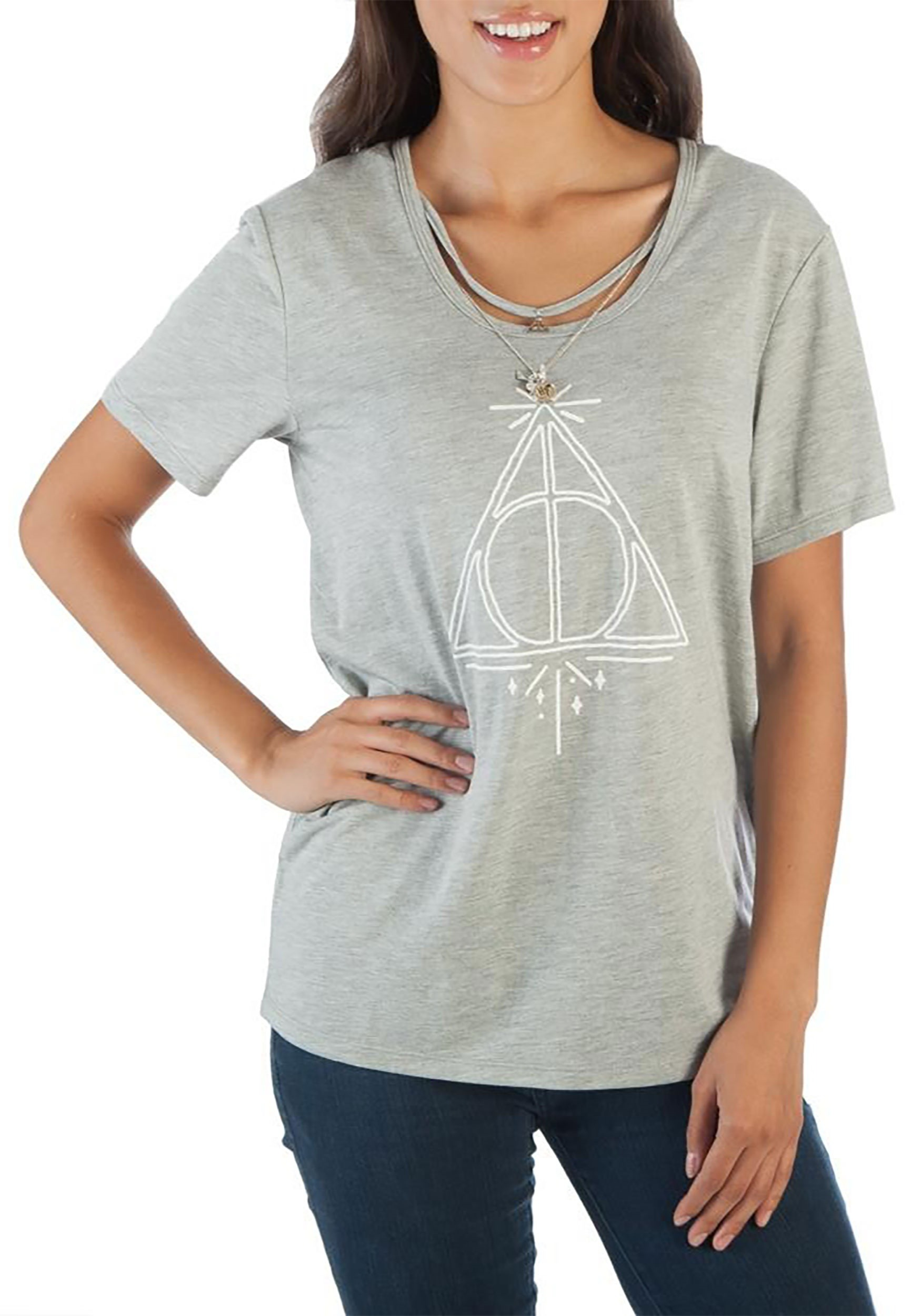 Harry Potter Deathly Hallows Women's T-Shirt with Interchangeable Charm Necklace