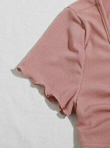 Lettuce Trim Tie Front Rib-knit Peekaboo Top