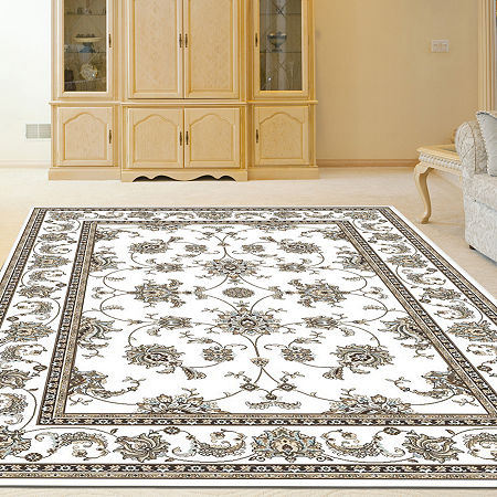 Pisa Kashan Traditional Oriental Area Rug, One Size , White