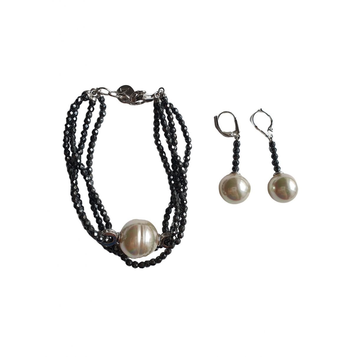 Non Signé / Unsigned \N Black Silver Jewellery set for Women \N