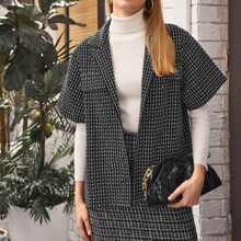 Button Front Plaid Tweed Coat