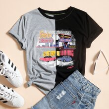 Car & Letter Graphic Colorblock Tee
