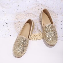 Allover Glitter Decor Espadrille Flats