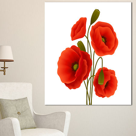 Designart Close Up View Of Poppy On White Floral Canvas Art Print, One Size , White