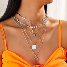 Halskette mit Mond & Stern Anhaenger und mehrschichtigen Ketten 3 Stuecke