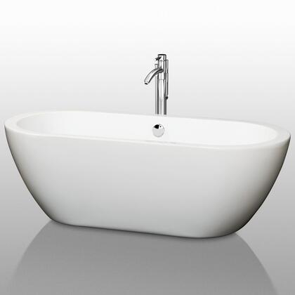 WCOBT100268 68 in. Center Drain Soaking Tub in White with Chrome