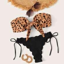 Bandeau Bikini Set mit Leopard Muster und Knoten vorn