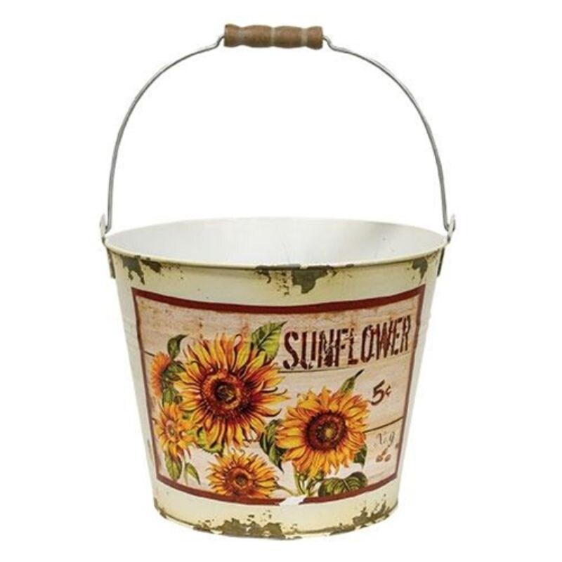 Cream Distressed Sunflower Bucket - Yellow (Yellow)