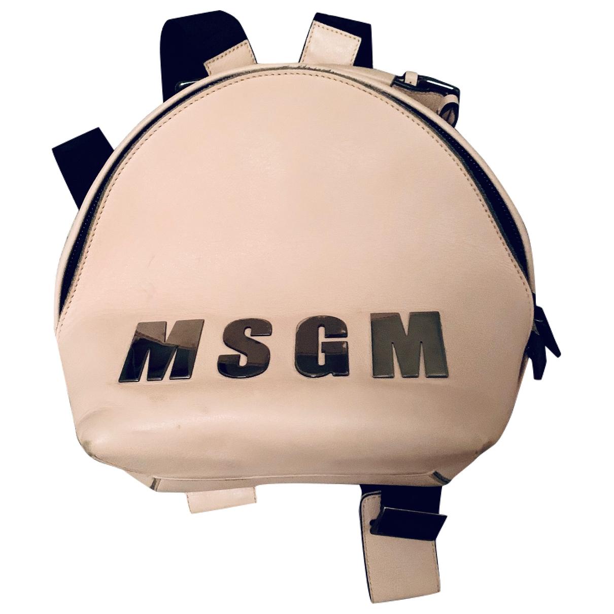 Msgm - Sac a dos   pour femme en cuir - rose