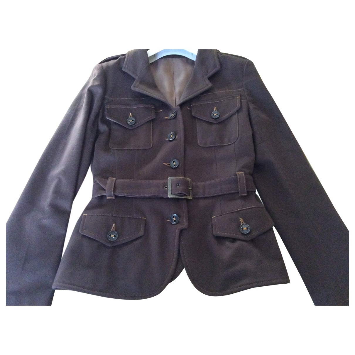 Non Signé / Unsigned \N Brown Wool jacket for Women 44 IT