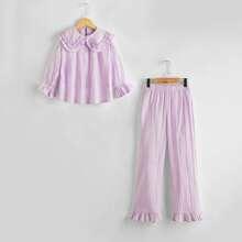 Conjunto de pijama top unicolor ribete fruncido con pantalones