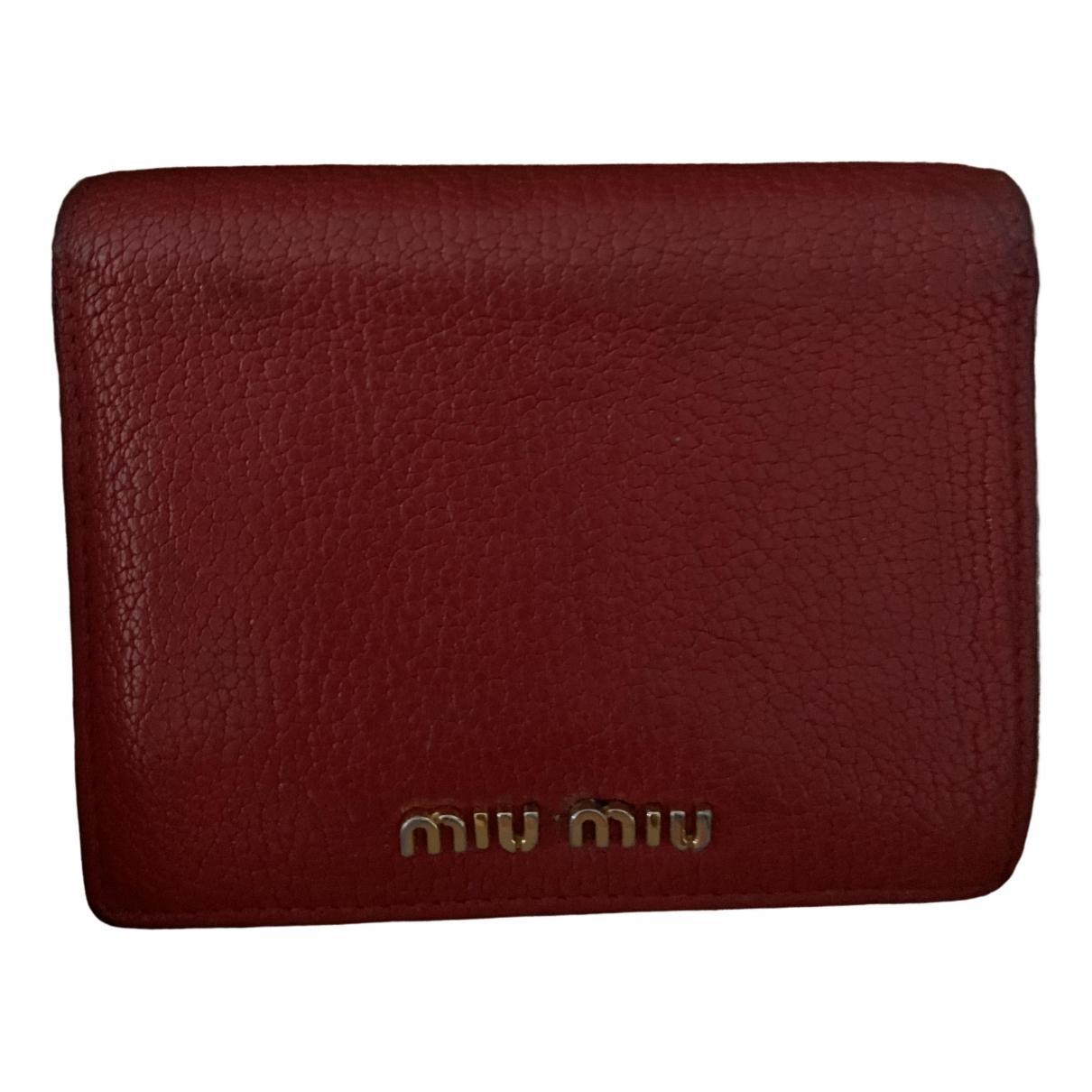 Miu Miu - Portefeuille   pour femme en cuir - rouge