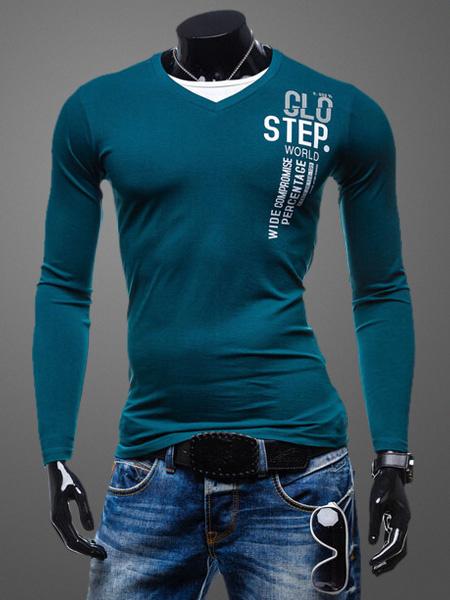 Milanoo V-Neck Long Sleeves Cotton Words Print Casual Tee Shirt