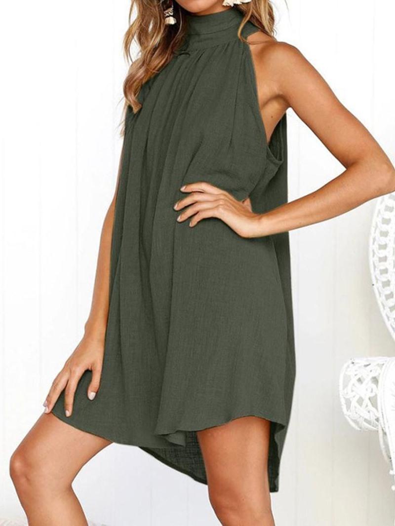 Ericdress Casual Sleeveless Above Knee Backless High Waist Plain Dress