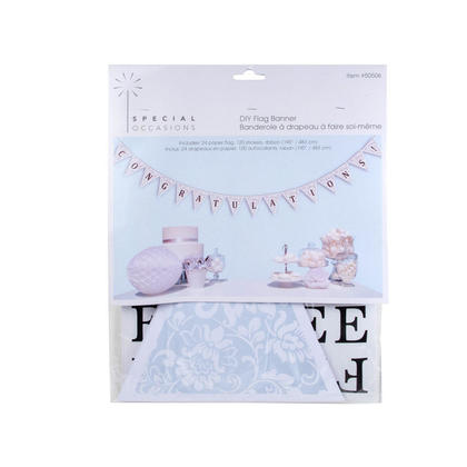 Wedding Banner Kit DIY Paper Flag 24Pcs Sticker 120Pcs Cord 190