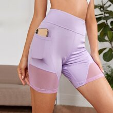 Contrast Mesh Biker Shorts With Phone Pocket
