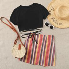 Criss Cross Tie Front Tee With Striped Skirt