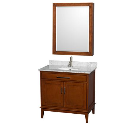 WCV161636SCLCMUNSMED 36 in. Single Bathroom Vanity in Light Chestnut  White Carrera Marble Countertop  Undermount Square Sink  and Medicine