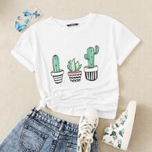 Top con estampado de cactus