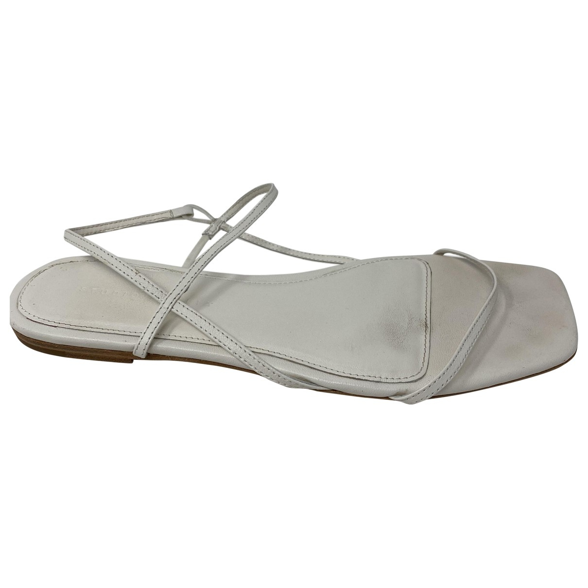 Studio Amelia \N White Leather Sandals for Women 38 EU