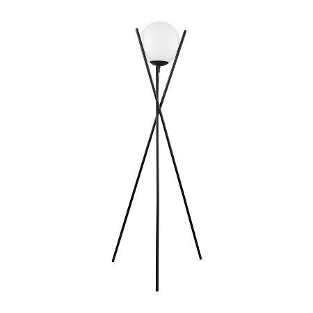 Eglo Salvezinas Matte Black Steel And Glass Steel Floor Lamp, One Size , Black