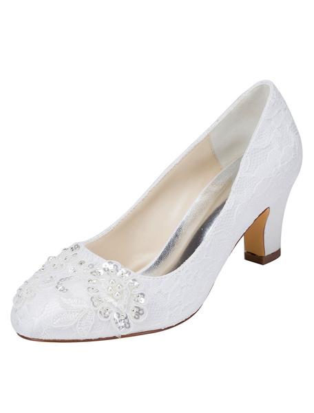 Milanoo Zapatos de novia de seda sintetica 6cm Zapatos de Fiesta Zapatos blanco  de tacon gordo Zapatos de boda de puntera redonda con lentejuela