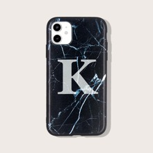 Letter Graphic Marble Pattern iPhone Case