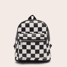 Pocket Front Plaid Backpack