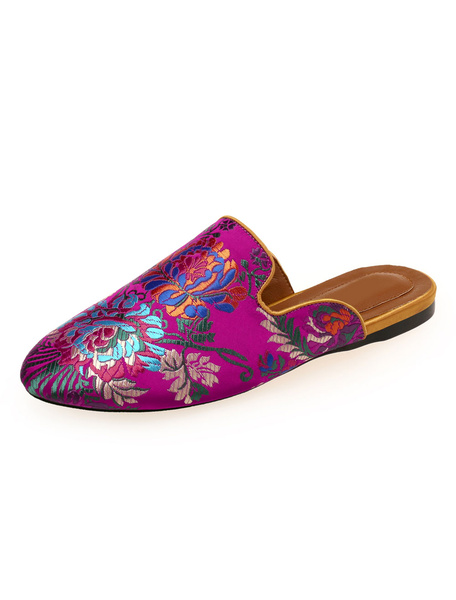 Milanoo Women Mule Loafers Satin Ethnic Round Toe Floral Embroidered Flat Mules