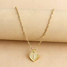 Halskette mit Buchstaben Design und Herzen Dekor
