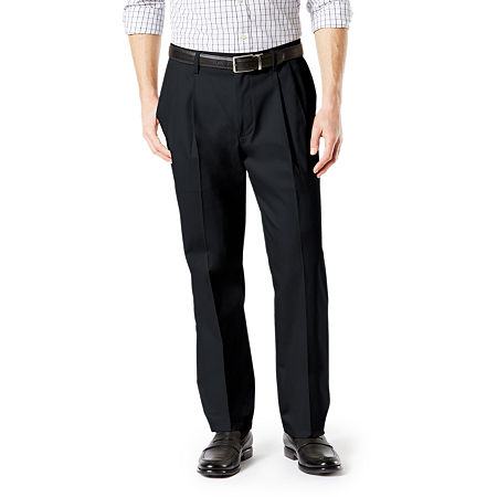 Dockers Big & Tall Classic Fit Signature Khaki Lux Cotton Stretch Pants - Pleated D3, 46 29, Black