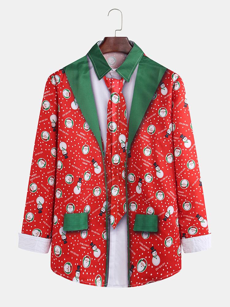 Mens Funny Christmas Santa Claus Snow Men Tie Suit Printed Long Sleeve Shirts