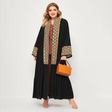 Kimono mit Kontrast Geo Muster und Rueschen