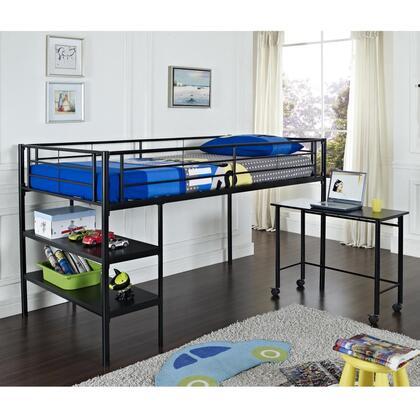BTLD46SPBL Twin Low Loft Bed with Desk -