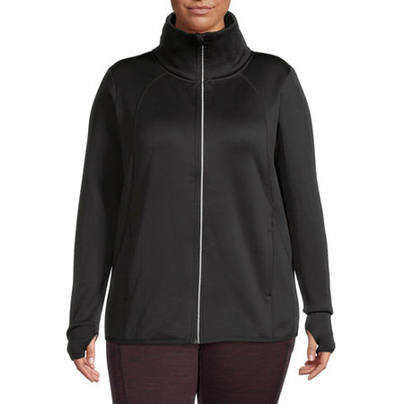 Xersion Womens Fleece Lined Jacket-Plus, 2x , Black