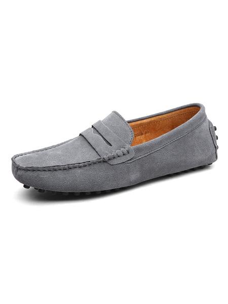 Milanoo Zapatos de conduccion sin cordones de mocasin de ante mocasines para hombre