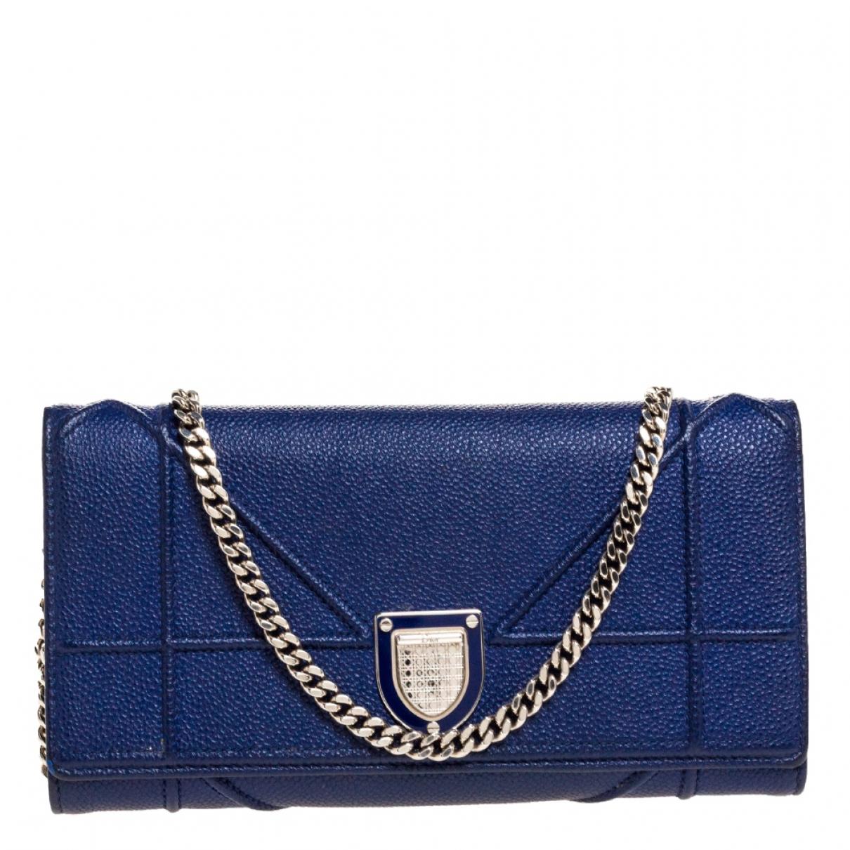Dior - Portefeuille Diorama pour femme en cuir - bleu