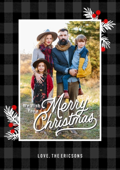 Christmas Photo Cards Flat Matte Photo Paper Cards with Envelopes, 5x7, Card & Stationery -Mistletoe & Plaid Christmas Photo Card by Hallmark