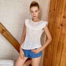Solid Eyelet Embroidered Blouse
