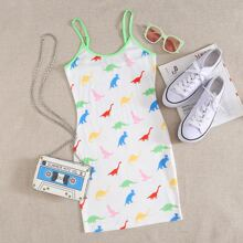 Contrast Binding Dinosaur Print Slip Dress