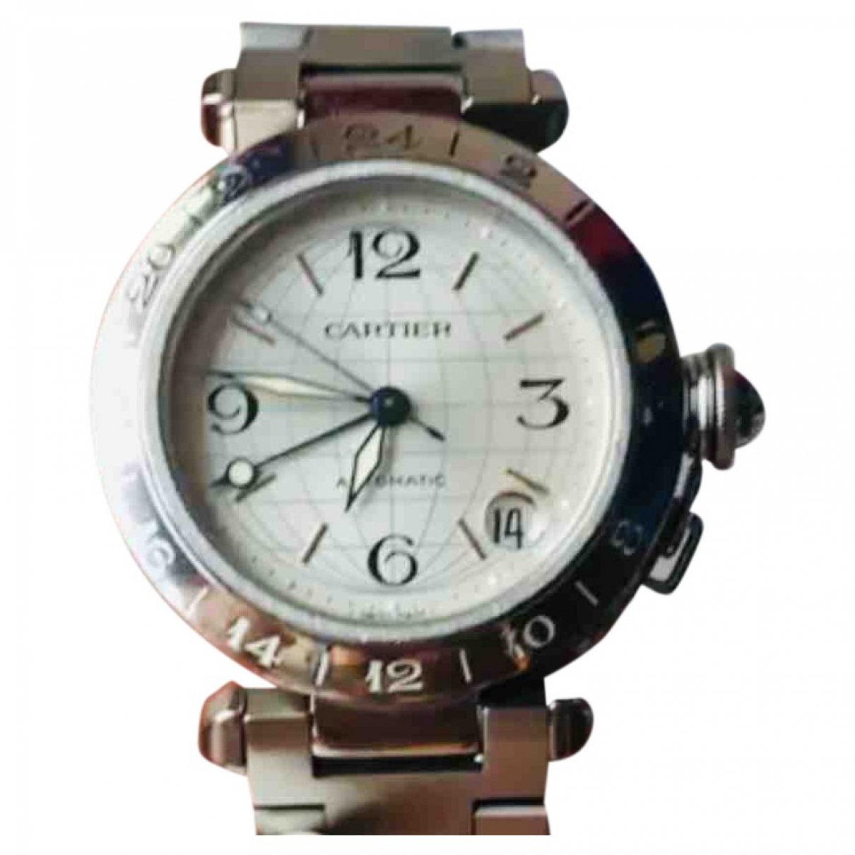Cartier Pasha GMT Uhr in  Silber Stahl